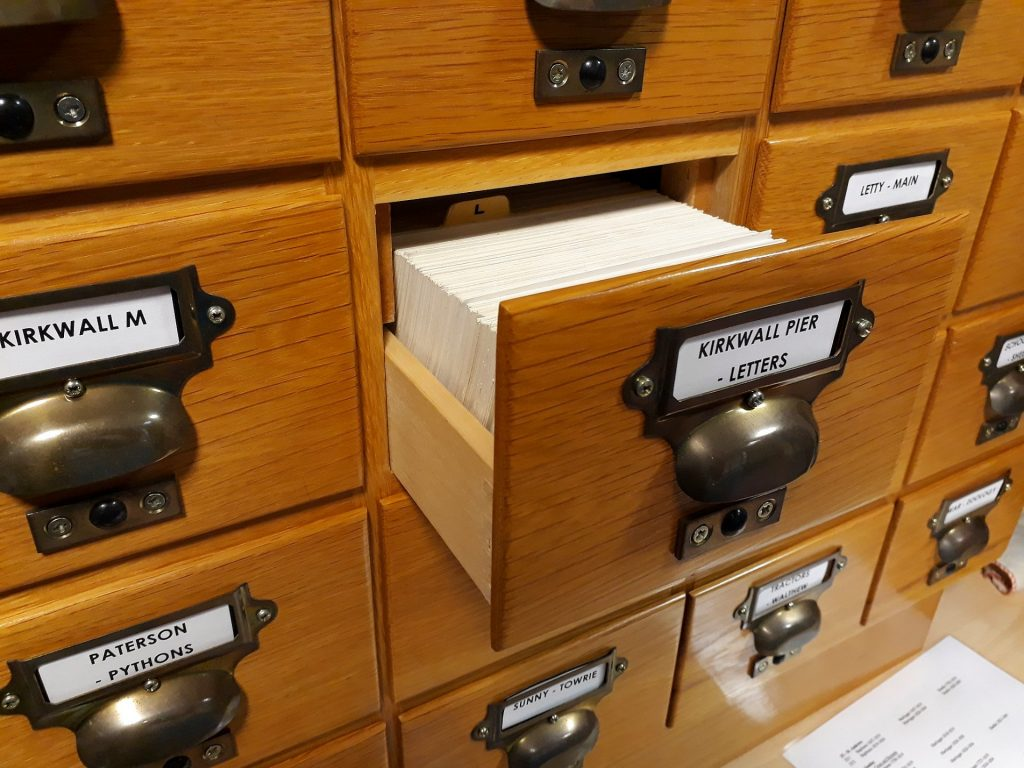 An archive card index