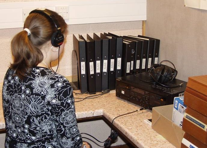 A woman listening in the Sound Archive