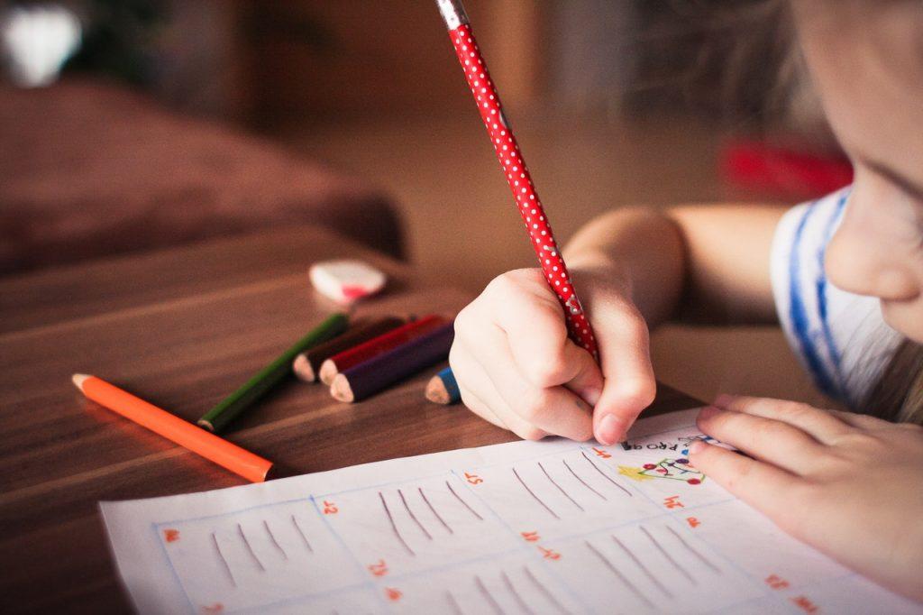 A child writing